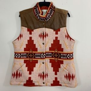 Orvis Men L Wool Leather Vest Aztec Tribal Hunting
